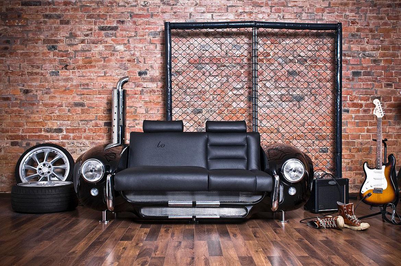 Брутальный диван в стиле лофт