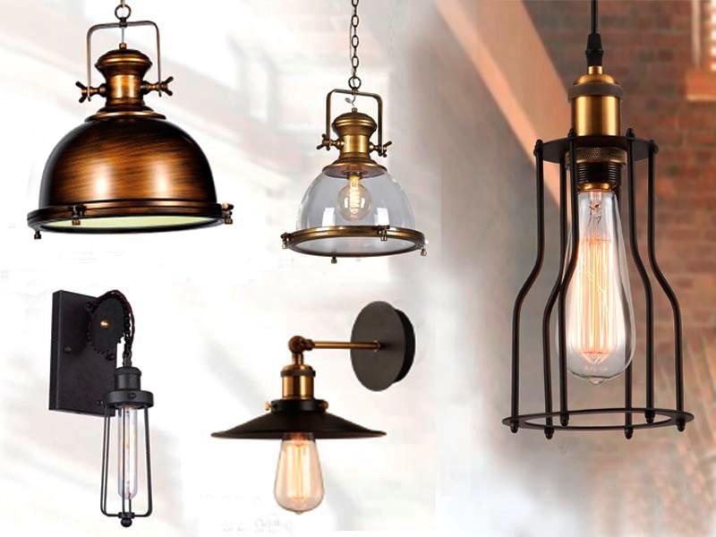 Лампмы на лофт кухне