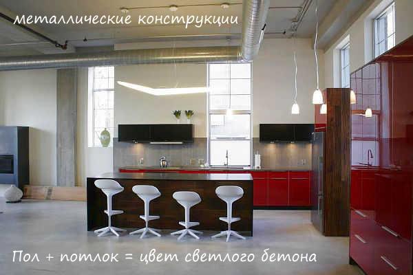Потолок на лофт кухне