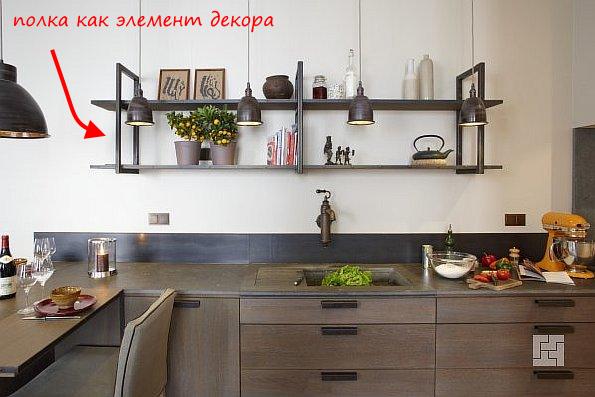 Полки на кухне в стиле лофт