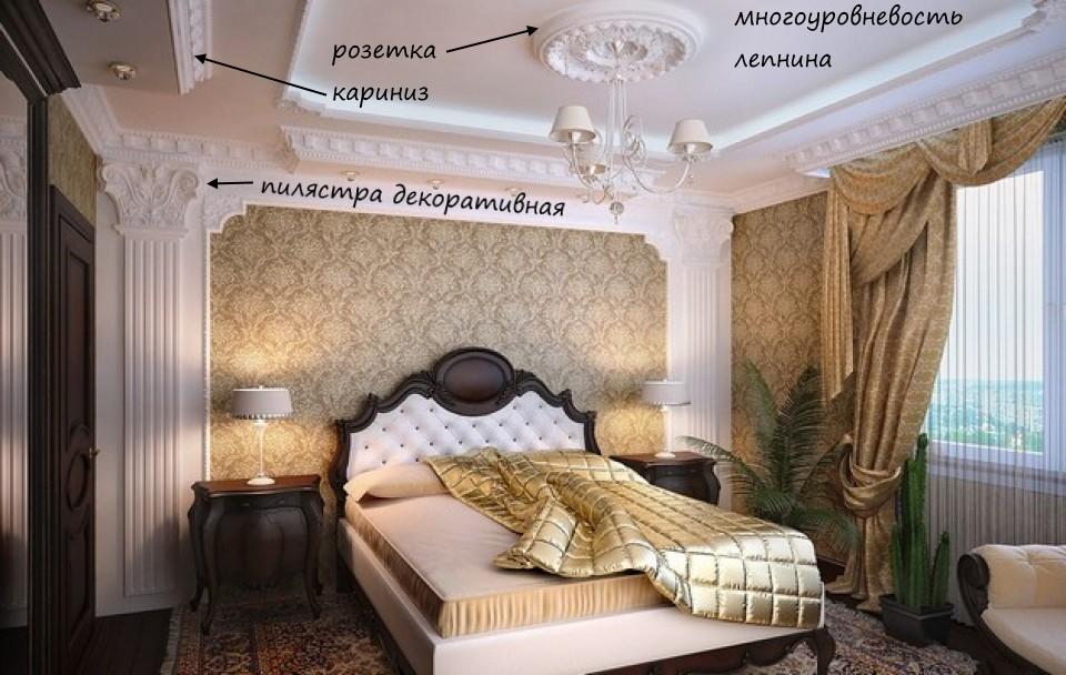Интерьер в классическом стиле - потолок